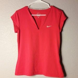 Nike Red Large V Neck Tennis Top
